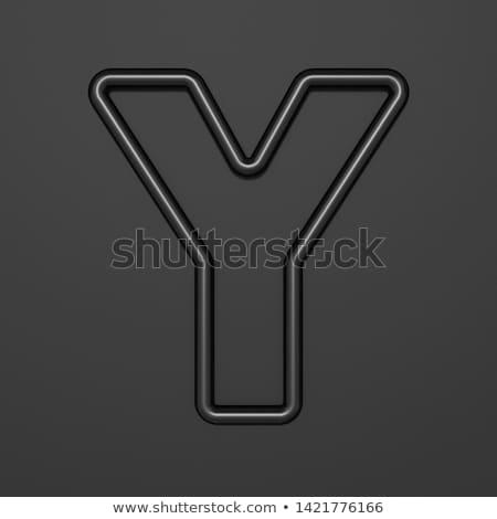 Stock photo: Black outline font Letter A 3D
