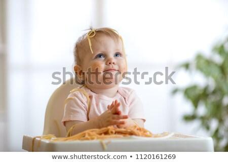 Gyermek lány eszik spagetti ebéd készít Stock fotó © Lopolo