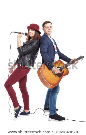 Musicians Man and Woman, Singing Together Duo Stock photo © robuart