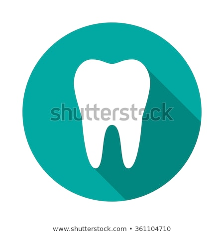 Tooth circle icon. Flat design style. Tooth simple silhouette. Modern, minimalist, round icon. vecto Stock photo © kyryloff