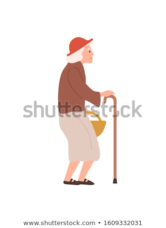 aged person with stick pensioner and wand vector stock photo © robuart