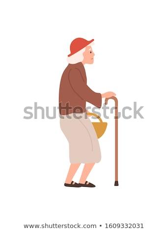 Persoon stick gepensioneerde vector oude vrouw Stockfoto © robuart
