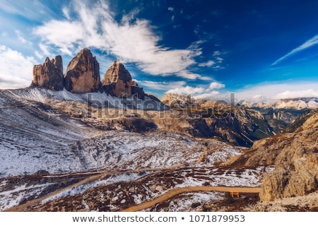 Tre Cime di Lavaredo peak at sunset Stock photo © frimufilms