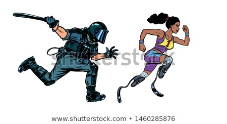 african female runner athlete with a disability. riot police with a baton Stock photo © studiostoks