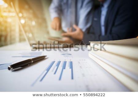 ストックフォト: Business Teamwork Process Businessmen Hands Pointing At Tablet