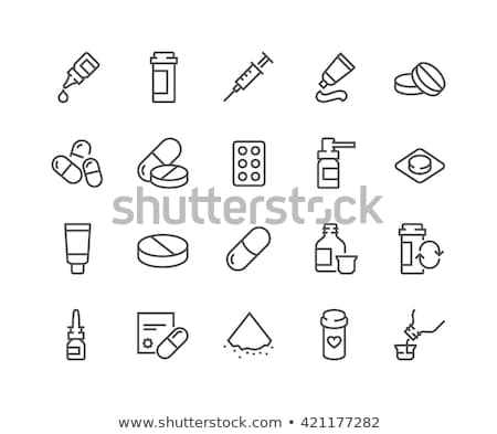vitamin pills container vector thin line icon stock photo © pikepicture