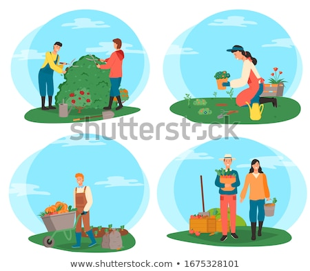 Farming Person People Cutting Bushes on Farm Set Stock photo © robuart