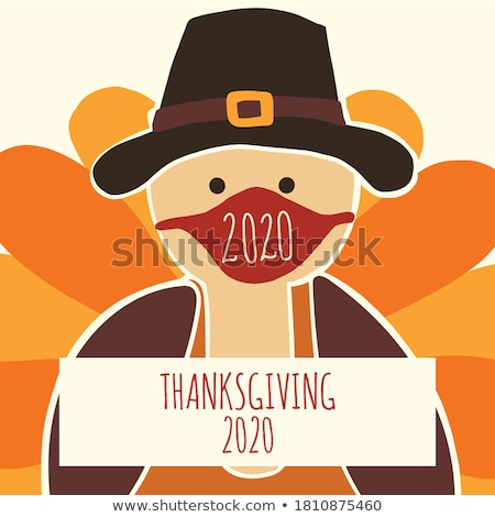 happy thanksgiving poster turkey animal vector stock photo © robuart