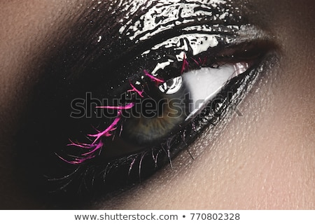 Creative Makeup. Natural long eyelashes closeup. Beauty model woman face makeup with fantasy bright  Stock photo © serdechny