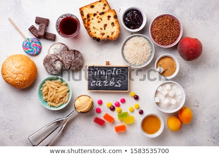 Válogatás egyszerű szénhidrátok étel termékek magas Stock fotó © furmanphoto