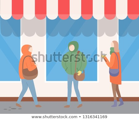 Urban Street, Passerby in Outerwear, Wall Vector Stock photo © robuart