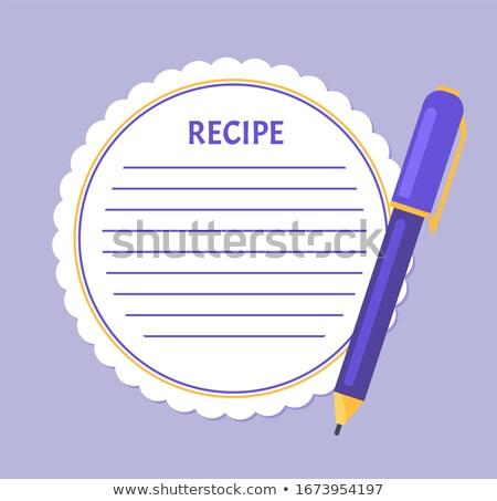 Recept oldal vázlat keret toll üres Stock fotó © robuart