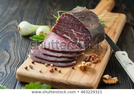 füstölt · marhahús · sonka · illusztráció · étel · vacsora - stock fotó © olegtoka