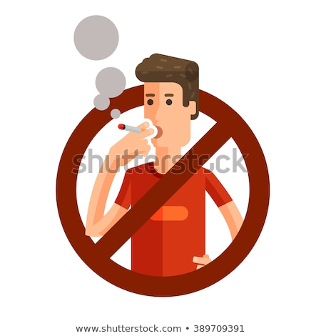 Cigarette stubs in ash with hand and no smoking sign. Stock photo © lichtmeister