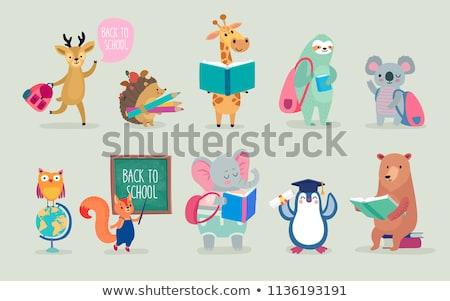Kitap okula geri kartpostal vektör sevmek Stok fotoğraf © robuart