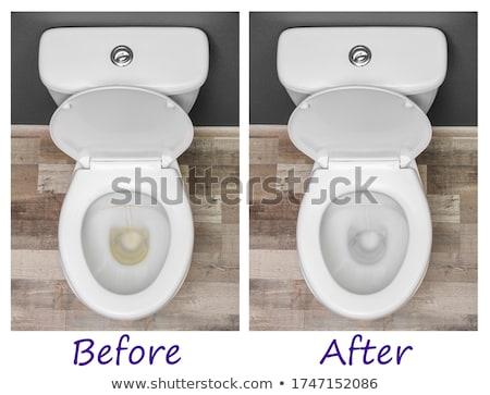 Sale toilettes salle de bain nettoyage Homme main Photo stock © simazoran