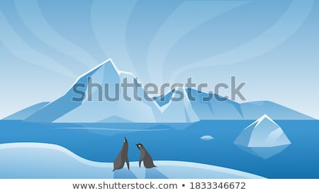 Glacier Icy Rock Floating On Ocean Water Vector Stock photo © pikepicture