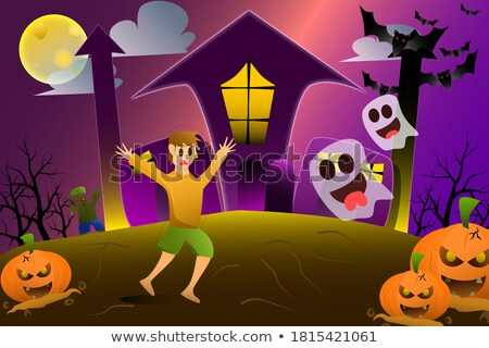 Halloween autour lune illustration femme design Photo stock © bluering