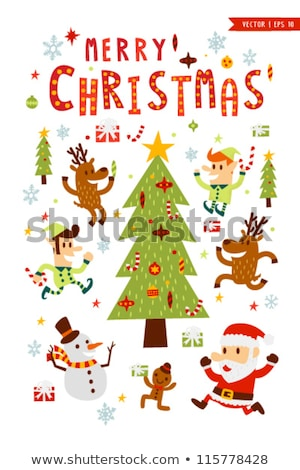 Christmas Cartoon Icon Set - Elf Holly Santa Hat Candy Cane Stock photo © nazlisart
