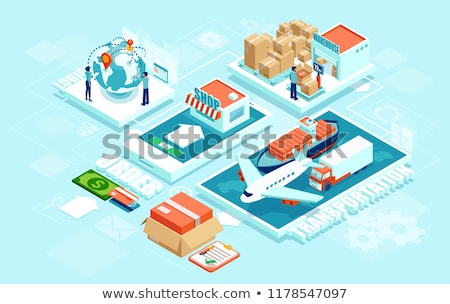 Isometrica consegna logistica shopping online mano Foto d'archivio © -TAlex-