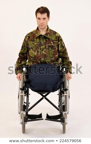 Férfi mozgássérült veterán tolószék pop art retro Stock fotó © studiostoks