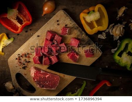 新鮮な 牛肉 子牛肉 肉 素朴な 木製のテーブル ストックフォト © dariazu