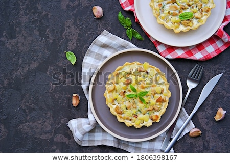 Frit jaune courgettes blanche sauce plaque Photo stock © tycoon