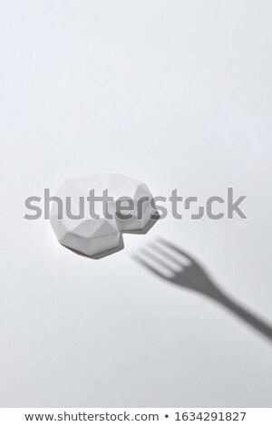 Sombra garfo branco gesso coração Foto stock © artjazz