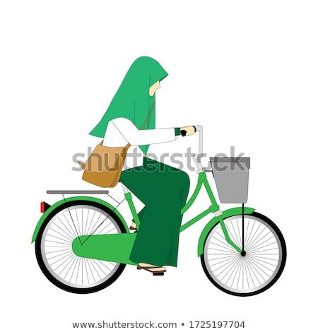 school girl White shirt summer_road bike Stock photo © toyotoyo