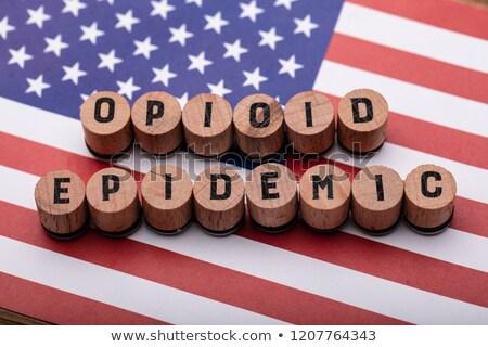 Salgın metin mantar amerikan bayrağı görmek ahşap Stok fotoğraf © AndreyPopov