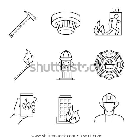 Brandweerman bijl icon schets illustratie vector Stockfoto © pikepicture