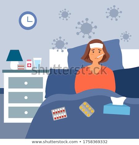 Vrouw allergie griep bed home achtergrond Stockfoto © AndreyPopov