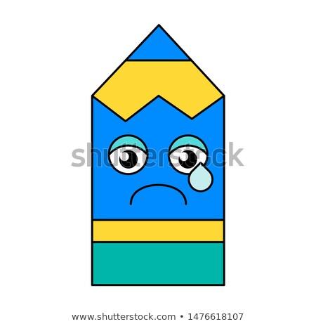 Lápiz emoticon ilustración melancolía medios de comunicación social Foto stock © barsrsind