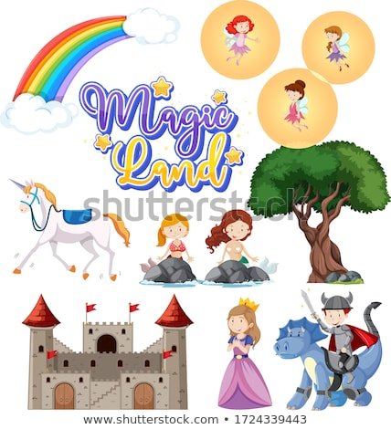 Set of fairytale characters and other items Stock photo © bluering