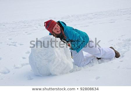 若い女性 巨人 雪玉 雪だるま 少女 ストックフォト © galitskaya