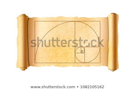 Old textured papyrus scroll with golden ratio proportions scheme on white Stock photo © evgeny89