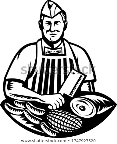 Butcher With Knife and Meat Cuts Retro Woodcut Black and White Stock photo © patrimonio