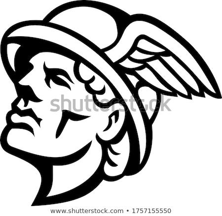 голову греческий Бога талисман черно белые иллюстрация Сток-фото © patrimonio