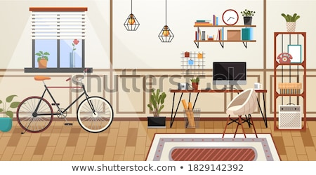 Workplace room, modern bright interior, cabinet. Working from home. Remote work Stock photo © robuart