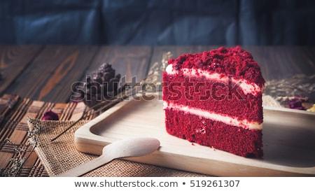 piros · bársony · torta · szelet · tányér · étel - stock fotó © dehooks