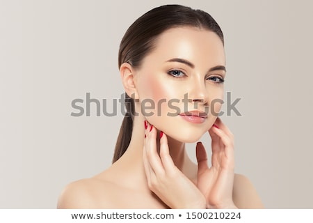 joli · visage · portrait · brunette · femme · oeil - photo stock © imarin