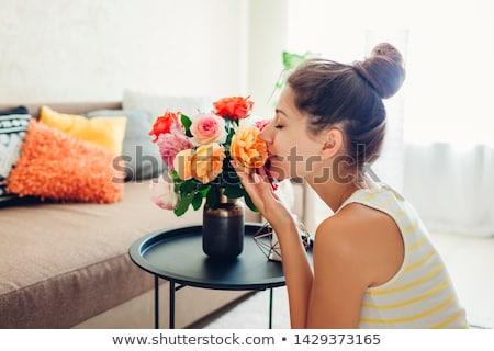 mooie · jonge · vrouw · bloem · schoonheid · mensen - stockfoto © yurok