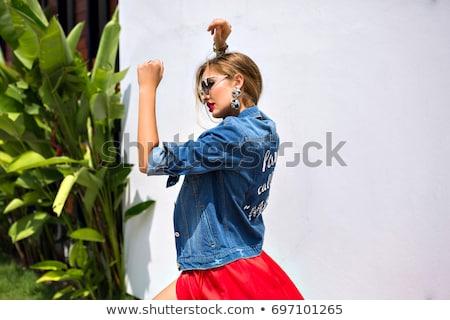 closeup portrait of beautiful fashion woman wearing sunglasses o stock photo © hasloo