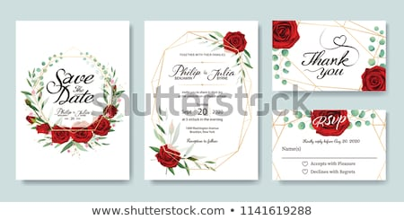 art · carte · de · vœux · roses · rouges · rouge · coeur - photo stock © konstanttin