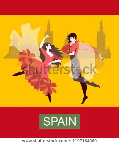 Stock fotó: Cigány · flamenco · táncos · pár · Spanyolország · piros · rózsa