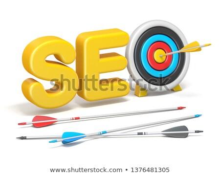 seo · czerwony · słowo · cel · arrow · biały - zdjęcia stock © donskarpo