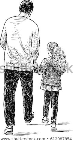 Küçük kız çizim baba eller yüz okul Stok fotoğraf © photography33