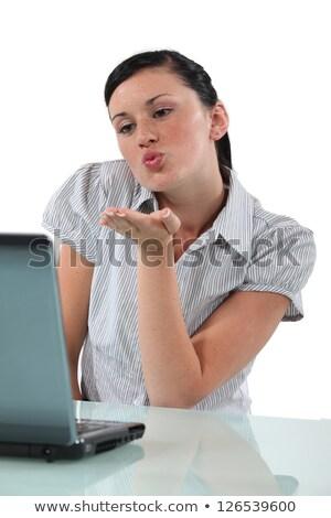 Jeune femme webcam main amour cheveux Photo stock © photography33