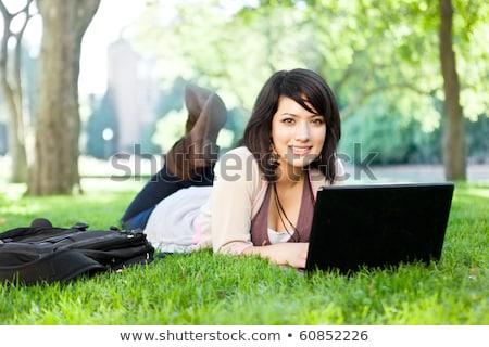 Stockfoto: Student · tiener · vrouw · laptop · witte