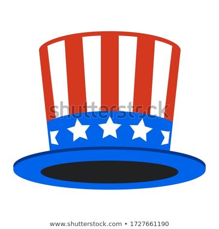 Stockfoto: Amerikaanse · hoed · symbool · vlag · star · Rood